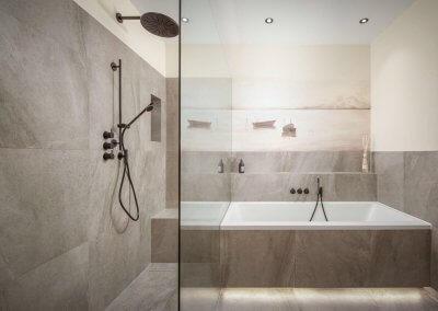 Dusche mit Badewanne